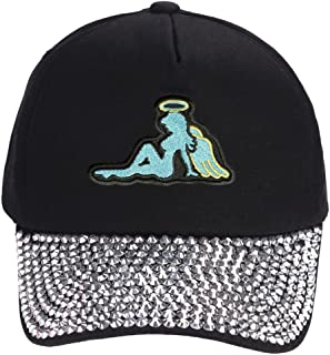 Angel Mudflap Girl Hat - Rhinestone Black Adjustable Womens Cap