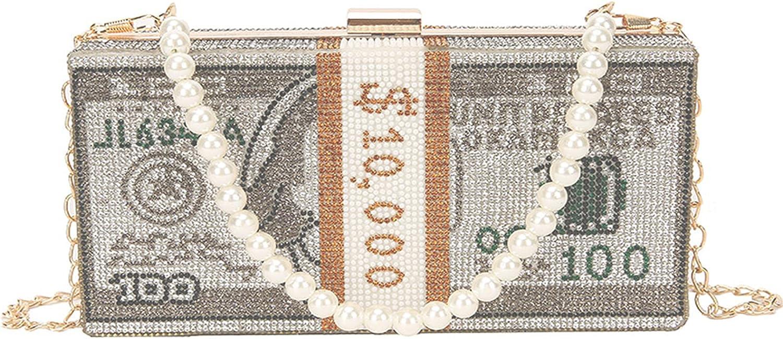 ZOVOTA Dollar Cash famous Bag Rhinestone Max 50% OFF Bill Shoulder Money Diamon