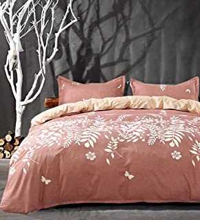 NANKO Pink Duvet Cover Set Queen - Floral Printed, 3 Piece - 1200 TC - 90x90 Luxury Microfiber Down Quilt Bedding Cover with Zipper, Ties for Women, Coral