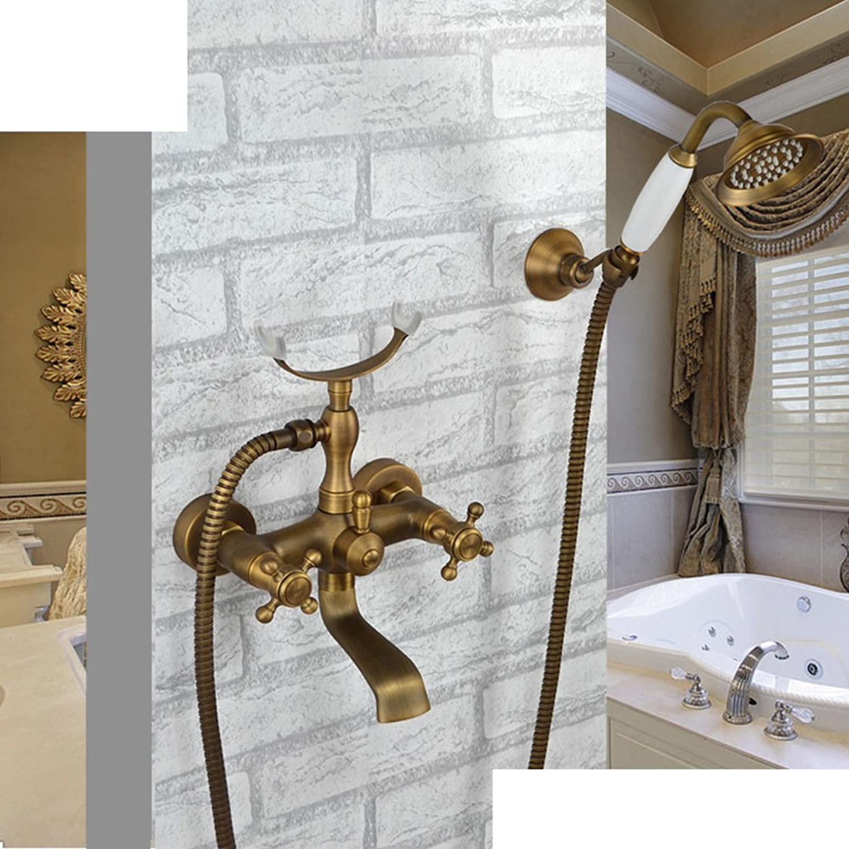 European-Style Kupfer Wasserhahn und Badewanne Heiwasserhahn einfache Badezimmer-Dusche-Set Bad Badewanne Armaturen-B