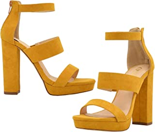 Olivia and Jaymes Women's Strappy Triple Band Ankle wrap Chunky Platform High Block Heel Sandals for Wedding Party Office USA