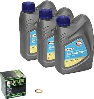 Gulf Power Trac (10W 40) Ölwechsel Set Suzuki V Strom 650 (DL 650), Bj. 04 10   Motoröl, HiFlo Ölfilter und Dichtring