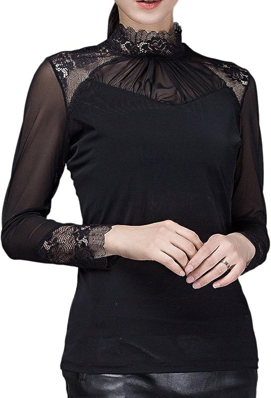 Dearilin Pretty Women's Long Sleeve Turtleneck Lace Tops