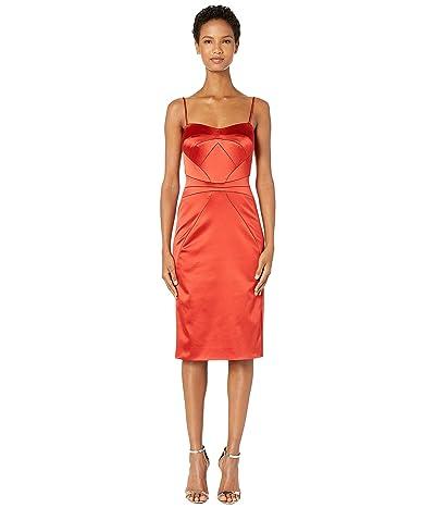 Zac Posen Stretch Satin Spaghetti Strap Fitted Cocktail Dress (Hibiscus) Women