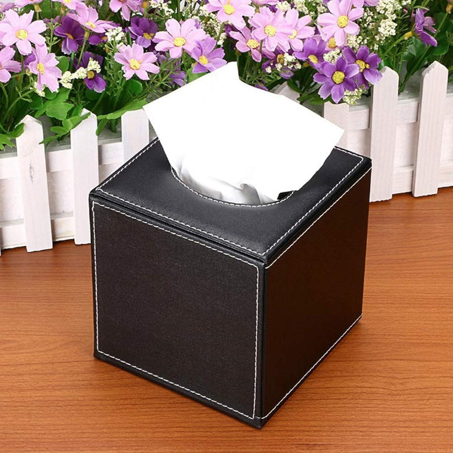 コンテストラボ熟読エレガントな正方形のティッシュボックスコンテナPUレザータオルナプキンティッシュホルダー(ブラック)