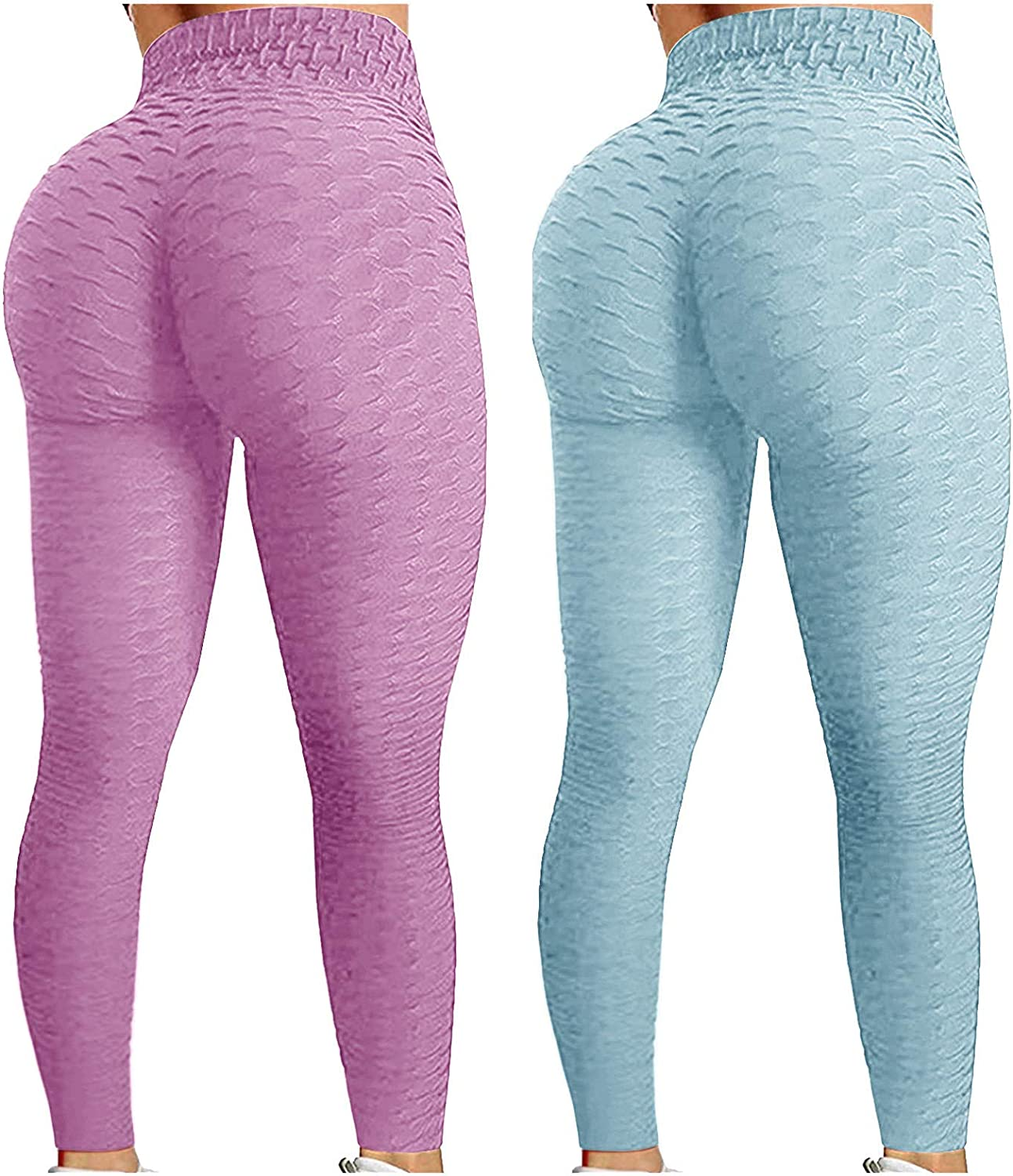 2 Pack High Waist Yoga Pants for Womens, Butt Lift Yoga Leggings Workout Tummy Control Tights