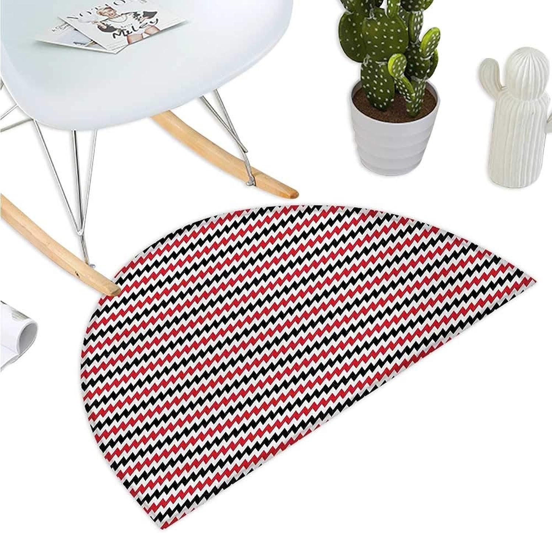 Red and Black Semicircular Cushion Hypnotizing Vintage Zigzag Chevron Wave Seem Retro Border Like Image Bathroom Mat H 35.4  xD 53.1  Vermilion White