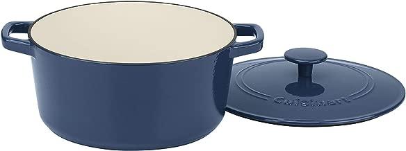 Cuisinart CI650-25BG 5 Qt Round Cast Iron Casserole, Covered, Enameled Provencial Blue