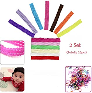 Baby Girls Lace Headband Headwrap Hair Bands, 26 Pcs Newborn Infant Elastic Head Wraps Hair Accessories Babies Clothes Outfit Set for Bows Flower