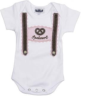 Eisenherz Baby Body Kurzarm rosa Spatzerl und Breze mit Hosenträger Applikation in Verschiedenen Größen