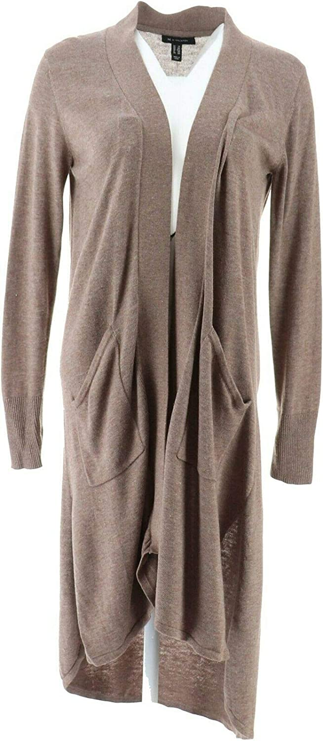 H Halston Petite Open Front High order Heather Factory outlet Iron Cardigan Hi-Low Duster