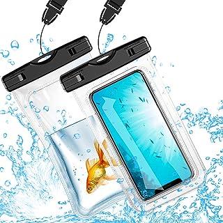 2点セット 防水ケース スマホ用インチ以下全機種対応 タッチ可能 海 プール 釣り 雨 水中撮影 風呂 潜水 ネックストラップ付属
