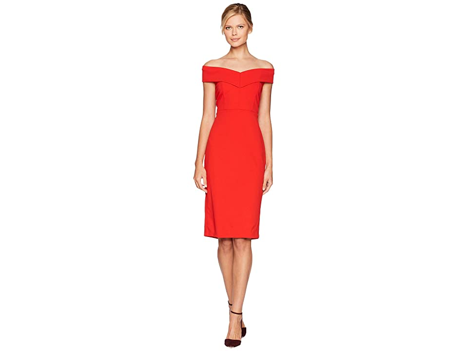 eci Off the Shoulder Sweetheart Neck Scuba Crepe Sheath (Red) Women