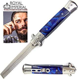 Royal Imperial Metal Switchblade Pocket Folding Flick Hair Comb For Beard, Mustache, Head BLUE CYCLONE Handle ~ INCLUDES Beard Fact Wallet Book ~ Nicer Than Butterfly Knife Trainer