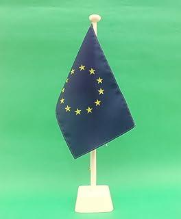 edle Ausf/ührung S Europa Flagge Europaflagge EU 15x25 cm Tischflagge optional mit 42 cm Holz Tischflaggenst/änder schwarz lackiert