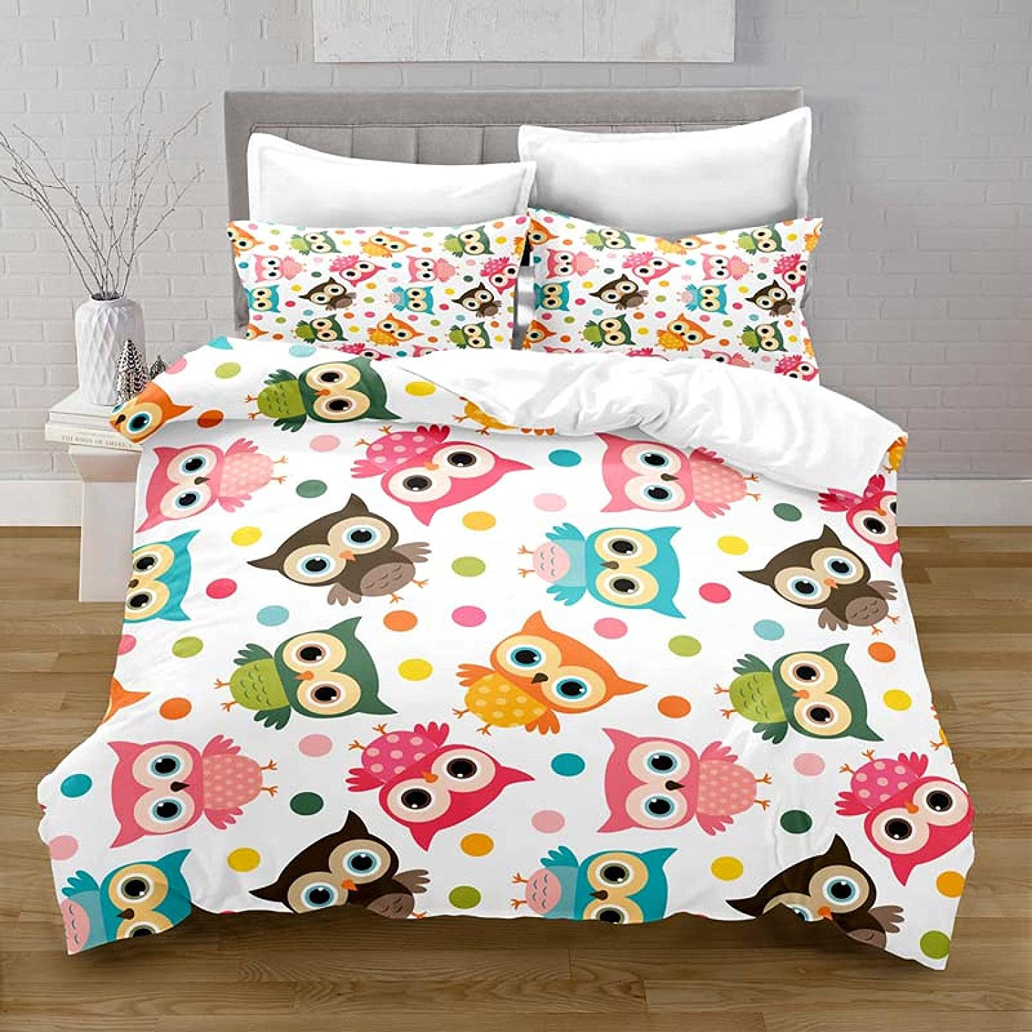 HQHM Duvet Cover King 3 Pieces Over item handling ☆ Inc Cute Cartoon Owl Animal Bombing new work 87X94