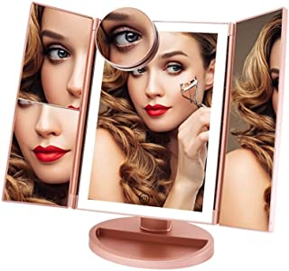 FASCINATE Trifold Lighted Makeup Mirror 3 Color Lighting 36 LEDs Makeup Vanity Mirror with 10X/3X/2X/1X Magnification, Cor...