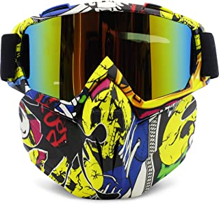 Motorcycle Goggles Removable Face Mask, PP PICADOR Detachable Motocross Windproof Waterproof Dustproof UV Protective Sports Goggles for Dirt Bike, Road Racing, ATV Helmet,Adult,Youth(Multicolor)