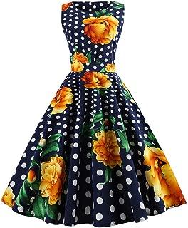 TIFENNY Women's Sleeveless Floral Print Rockabilly Evening Party Dresses 2019 New Swing Dress
