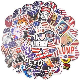 50pcs American Flag Stickers for Hydroflask Water Bottle, Laptop, Skateboard, Vinyl Waterproof USA Stickers Pack, Cool Stu...