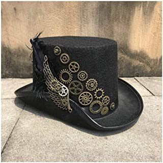 SHENTIANWEI -end Men Women Handmade Steampunk Top Hat with Metal Gear Stage Magic Hat Party Hat Size 57CM