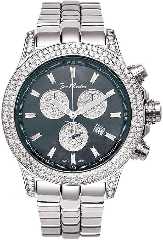 Joe rodeo, orologio,cronografo per uomo,in acciaio inossidabile,con lunetta ricoperta di diamanti JMP02