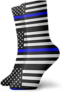 ouyjian Socks Breathable Thin Blue Line Blue Lives Matter Flag.png Crew Sock Exotic Modern Women & Men Printed Sport Athletic Socks 11.8in