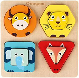 Coogam Wooden Animal Sorting Baby Stacking Toys, Shape Color Recognition Puzzle Matching Blocks, Fine Motor Skill Preschoo...