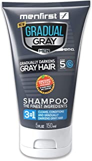 MENFIRST Gradual Gray 3-in-1 Grey Hair Reducing SHAMPOO For Men - Scalp Wash that Cleans, Darkens, Conditions, and Gradually Reduces Grey and White Hair Color for Natural Looking Results - Single