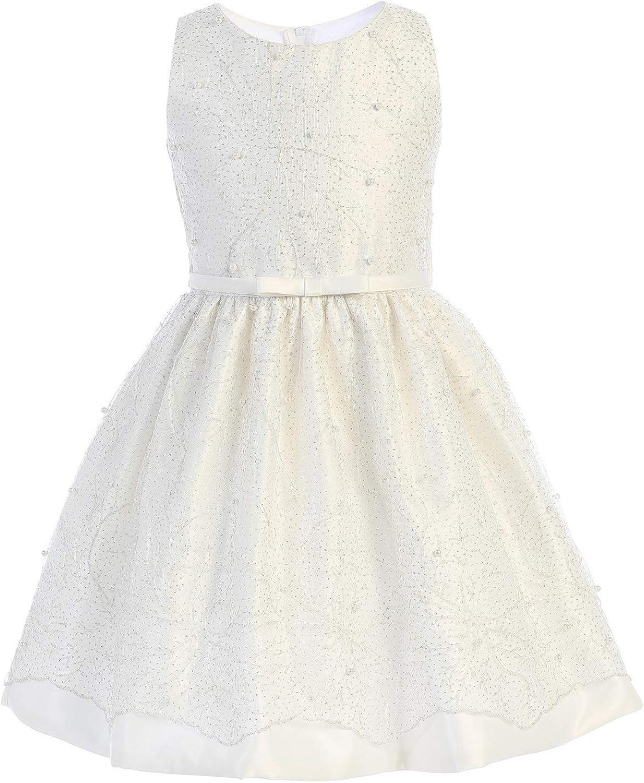 Sweet Kids Big Girls Off-White Snowflake Pearl Mesh Christmas Dress 7-12