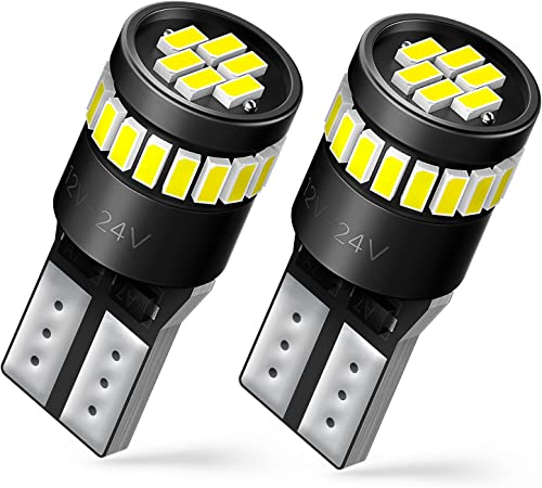 AUXITO 194 LED Bulbs 168 175 2825 W5W T10 24-SMD 3014 Chipsets 6000K White for Car Dome Map Door Dash Instrument Cour...