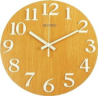 BECANOE 壁掛け時計 木製 立体数字 夜光 連続秒針 サイレント アナログ ウォールクロック 掛け時計 インテリア