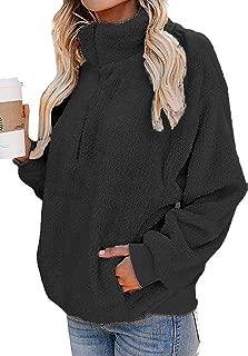 Womens Plus Size Sherpa Pullover Fleece Fluffy Sweatshirts 1/4 Zip Oversized Fuzzy Jackets Pockets