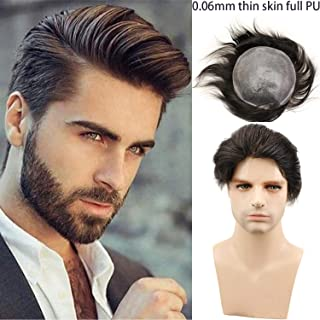 """Rossy&Nancy European Virgin human Hairpiece for Men's Toupee Ultra Transparent Thin Skin PU Replacement Hair Pieces 10""""x8"""" Base Size #1B Black Color"""