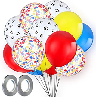 108 Pieces Paw Print Balloons Set Latex Red Yellow Blue Balloons Confetti Balloons 2 Pieces Silver Ribbon for Patrol Theme Party