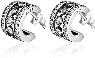 Sterling Silver Jewelry By CS-DB Cute Vintage Allure CZ Stud Earrings