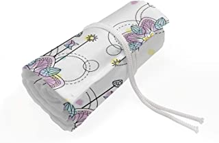 Ambesonne Tattoo Roll Up Pencil Holder, Mandala Inspired Floral with Arrows Meditation and Yoga, Painting Drawing Pencils Case for Artists Students, 36 Loops, Lilac Pale Blue Yellow