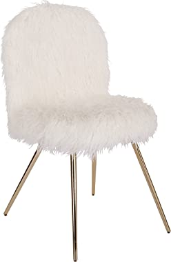 OSP Home Furnishings Julia Accent Chair, White Faux Fur and Gold Legs