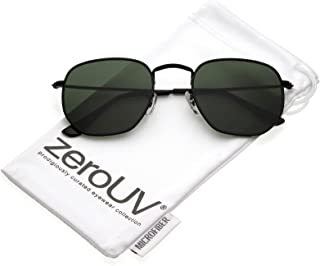 551910ea82 zeroUV - Modern Geometric Metal Slim Arms Neutral Colored Flat Lens  Hexagonal Sunglasses 51mm
