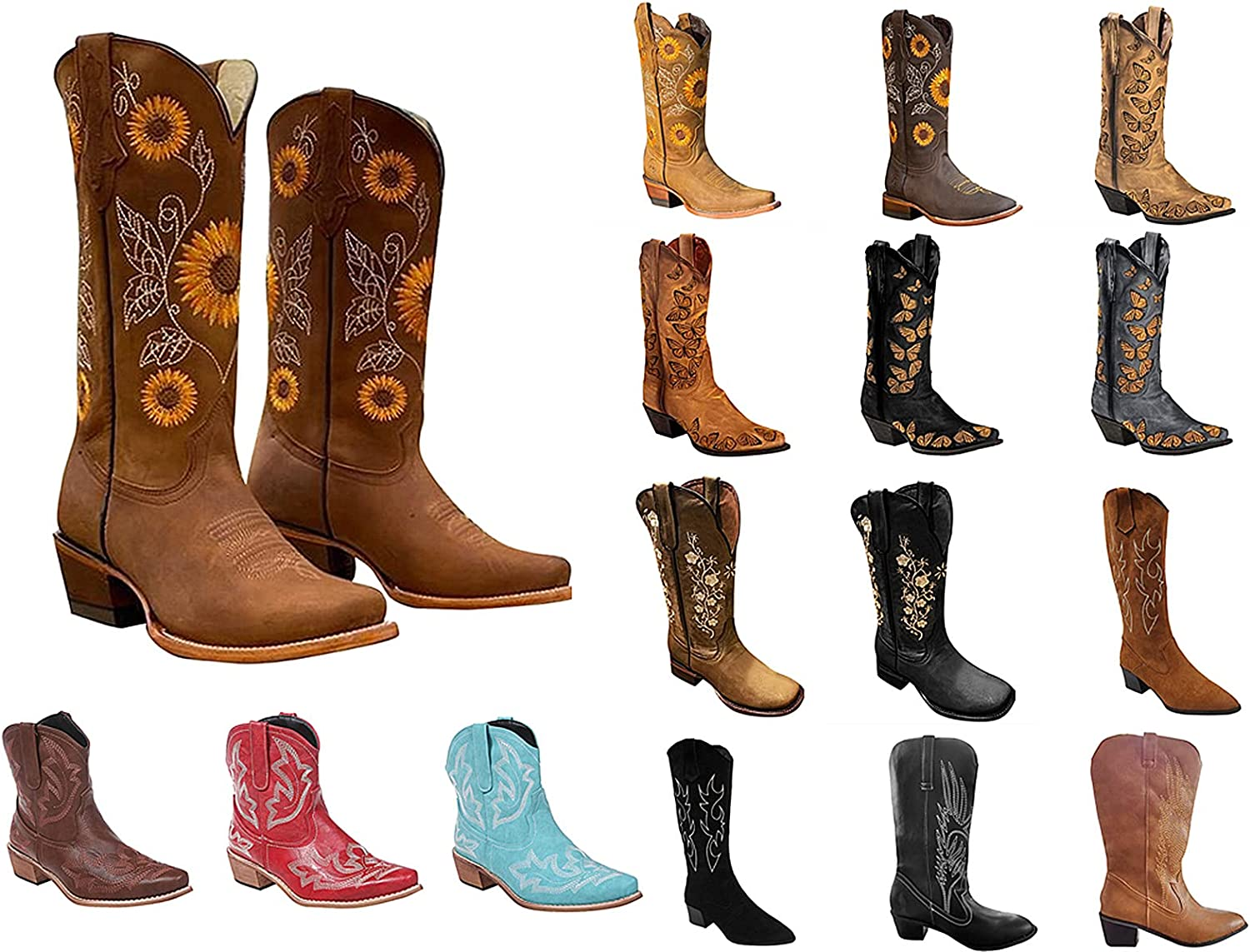 Cowboy Boots For Womens Riley Western Boot Gaucho Boot Embroidery Zip Pointed Toe Chunky Stacked Mid-Calf Booties