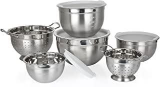 10 Piece Stainless Steel Mixing Bowl Set with Colander and Lids