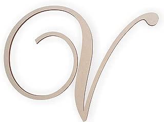 Wooden Letter V, Wooden Monogram Wall Hanging, Large Wooden Letters, Cursive Wood Letter