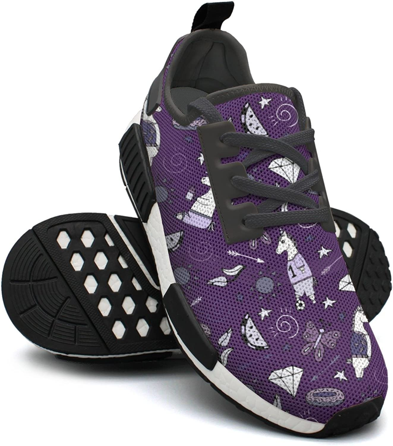 Purple Unicorn Football Soccer Star Butterfly Gym Running Womens Running shoes Wide Width NMD