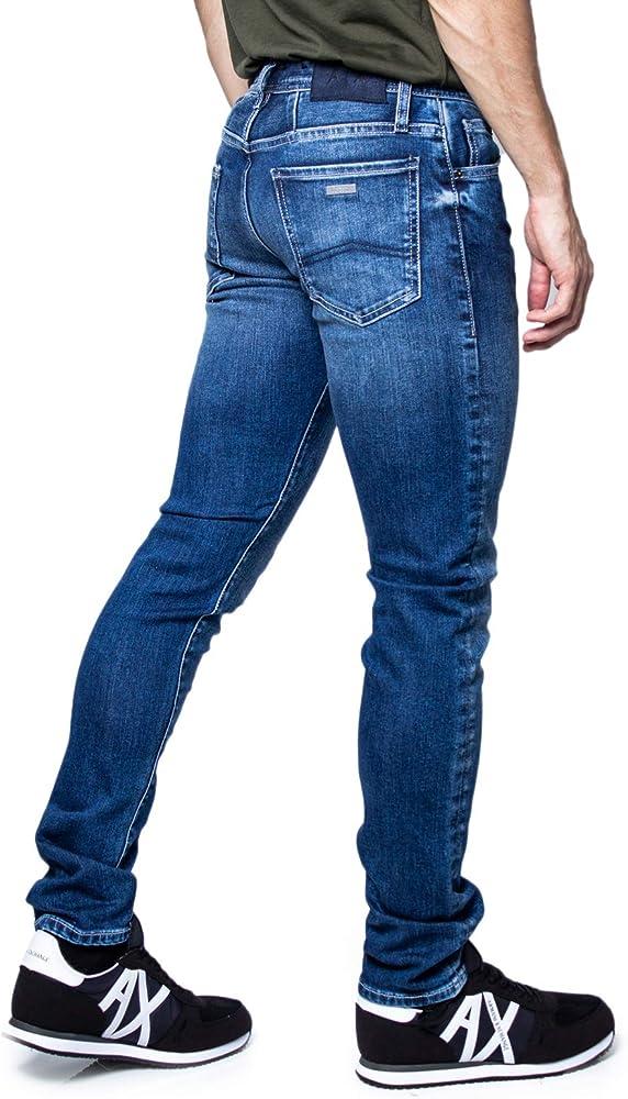 Armani exchange, jeans skinny per uomo, 77% cotone, 21% poliestere, 2% elastan 6GZJ14Z1CMZ-30