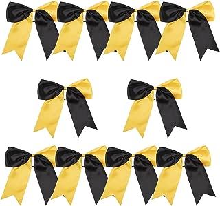 8 Inch 2 Colors Jumbo Cheerleader Bows Ponytail Holder Cheerleading Bows Hair (Black/Gold)