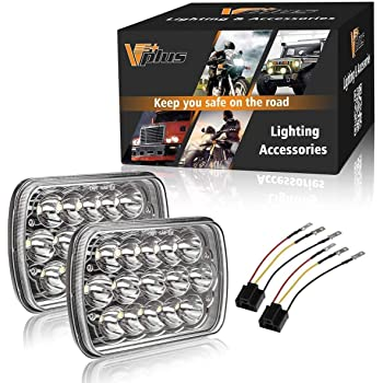 Partsam H6054 7x6 5x7 LED Headlights Sealed Beam Hi/Low w/ H4 Wiring Harness Compatible with Jeep Wrangler YJ XJ/GMC Chevrolet Express S10/Ford Cherokee E250/Toyota Tacoma/Mazda