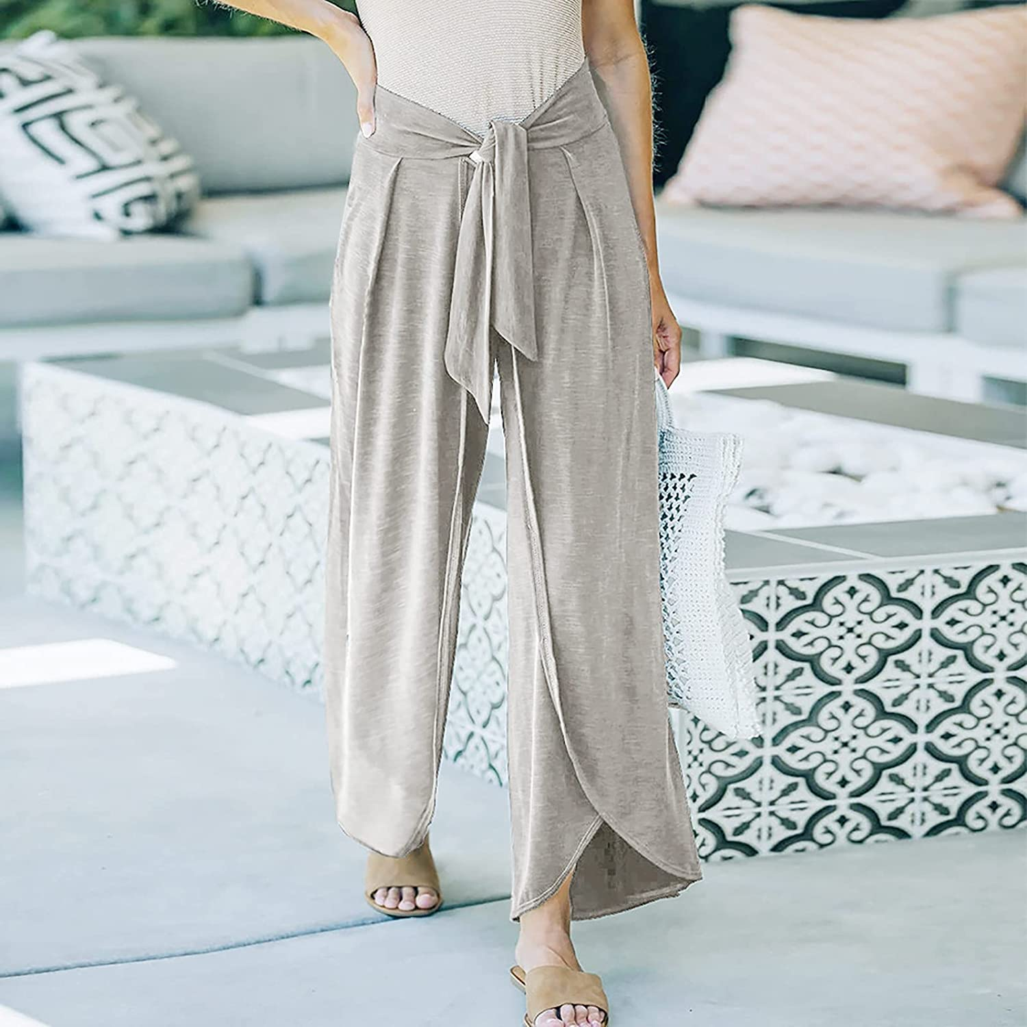 Misaky Women Casual Solid Boho Palazzo Pants Loose Knit Belt Tie Casual Knitted Trousers