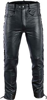 BULLDT Lederhose lederjeans bikerjeans seitlich geschnürt Anilinleder Naturleder, Größe:56