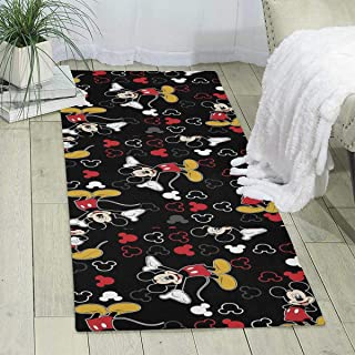 LCX0D Carpet- Trendy Mickey-Mouse-Black-Background-1100715 Design Indoor Area Rugs Home Decor Soft Carpet for Bedroom Hallway, 70