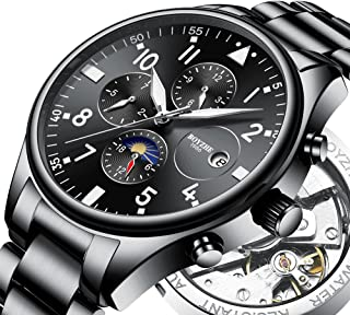 Mens Automatic Mechanical Sports Watches for Men Fashion Military Waterproof Leather Stainless Steel Watch